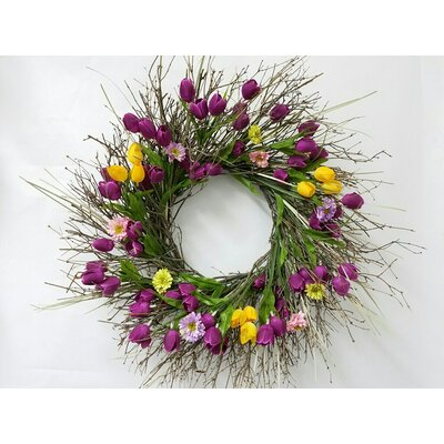Tulips and Wildflower 22 Wreath
