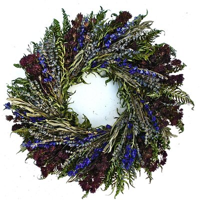 22 Herbal Blues Wreath Size: 22 H x 22 W x 4 D