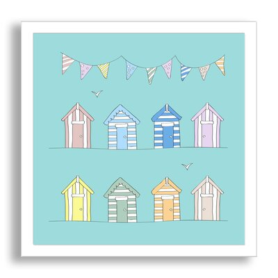 Kids Art Beach Huts and Bunting - Beach Themed Baby Art by Andy Frith Framed Paper Art Painting Print Size: 20