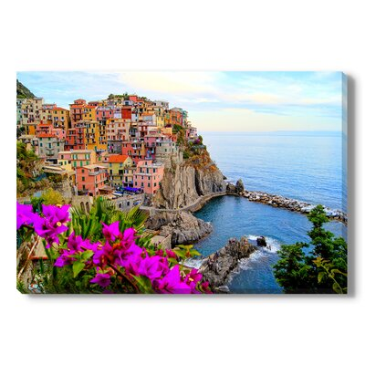 Cinque Terre coast of Italy with flowers Photographic Print Wrapped on Canvas Size: 11