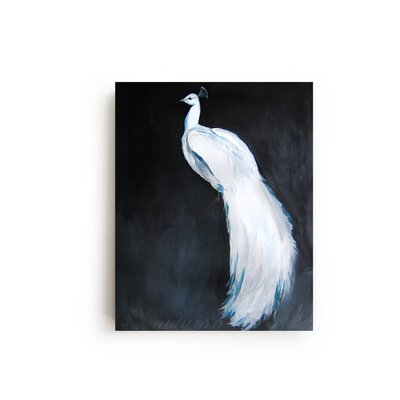 Peacock II by Christine Lindstrom Painting Print on Canvas in White Size: 30