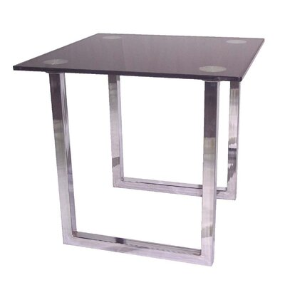 Cheap Lite Source Lite Source Contemporary Chrome End Table with Tempered Black Glass Top (IT3730)