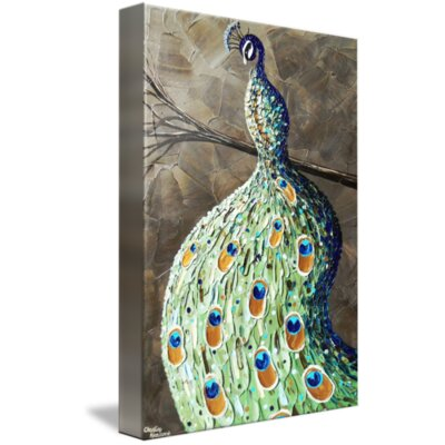 'Elegant Peacock' Acrylic Painting Print on Wrapped Canvas Size: 16