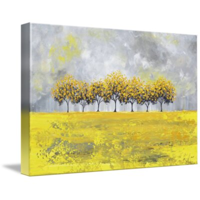 'Golden Rain' Acrylic Painting Print on Wrapped Canvas Size: 11