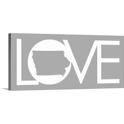 Iowa Love State by Kate Lillyson Textual Art on Gallery Wrapped Canvas Size: 14