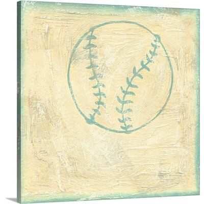 "Sports Rule Baseball Rules by Chariklia Zarris Painting Print on Wrapped Canvas Size: 10"" H x 10"" W x 0.75"" D 1102696_29_10x10_none"