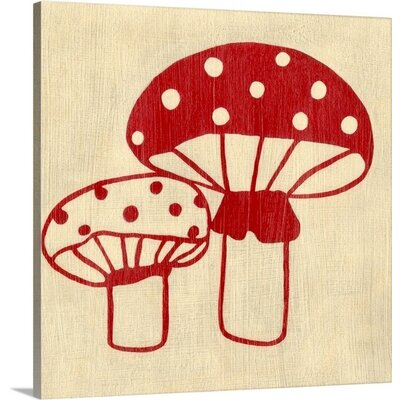 Best Friends Mushrooms by Chariklia Zarris Painting Print on Gallery Wrapped Canvas Size: 35 H x 35 W x 1.5 D