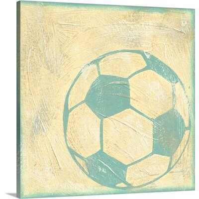 "Sports Rule Soccer Rules by Chariklia Zarris Painting Print on Wrapped Canvas Size: 10"" H x 10"" W x 0.75"" D 1122313_29_10x10_none"