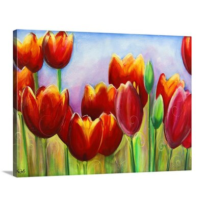 'Tulips in Bloom' by Eric Waugh Painting Print on Canvas Size: 23