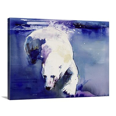 'Underwater Bear, 1999 (Mixed Media on Paper)' by Mark Adlington Painting Print on Canvas Size: 17 H x 24 W x 1.5 D