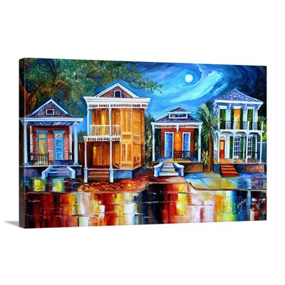 'Moon Over New Orleans' by Diane Millsap Painting Print on Canvas 2183091_1_30x18_none