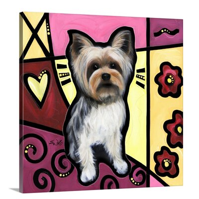 'Yorkshire Terrier Pop Art' by Eric Waugh Graphic Art on Canvas Size: 24