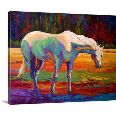 White Mare II by Marion Rose Painting Print on Wrapped Canvas Size: 19