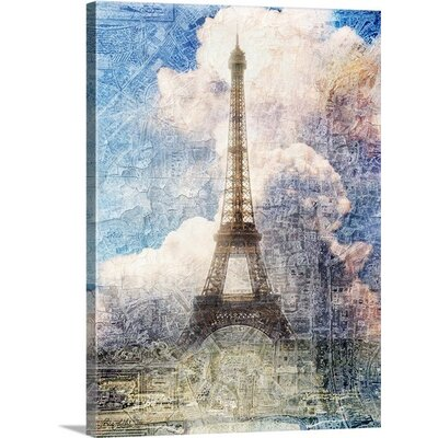 Distressed Eiffel Tower by Roozbeh Graphic Art on Canvas Size: 48