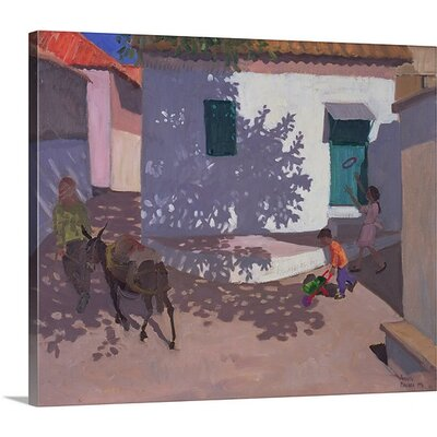 'Green Door and Shadows Lesbos' by Andrew Macara Painting on Canvas Size: 40