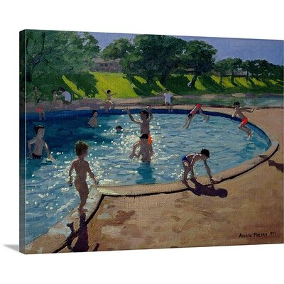 """'Swimming Pool' by Andrew Macara Painting Print Size: 17"""" H x 21"""" W x 1"""" D, Format: Black Framed 1048518_15_16x12_none"""