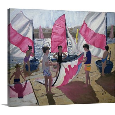'Sailboat Royan France' by Andrew Macara Painting on Canvas Size: 34