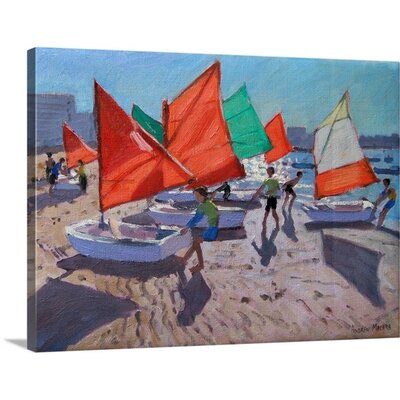 'Red Sails Royan France' by Andrew Macara Painting on Canvas Size: 23