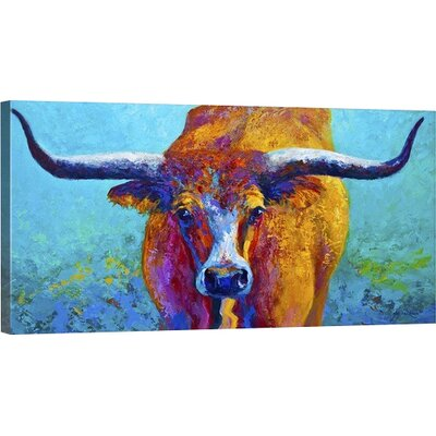 'Wide Spread Texas Longhorn' Painting Print on Wrapped Canvas Size: 10