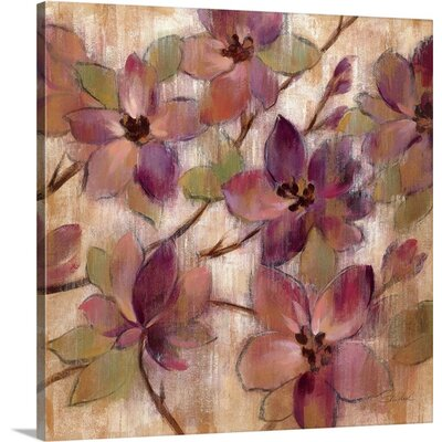 'Magenta Branch II' by Silvia Vassileva Painting Print on Canvas Size: 35