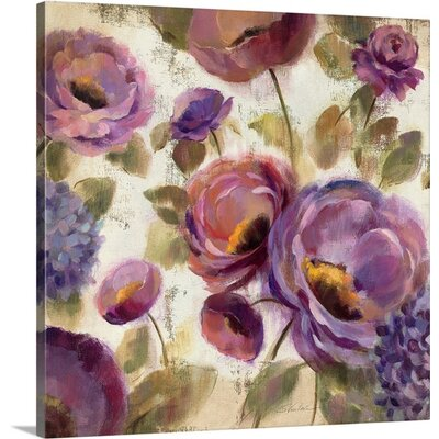 'Blue and Purple Flower Song II' by Silvia Vassileva Painting Print on Canvas Size: 48