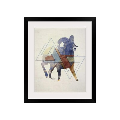 Double Exposure Wildlife Ram Framed Graphic Art Size: 31