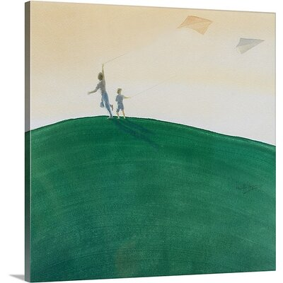 "'Kite Flying, 2000' by Lincoln Seligman Painting Print on Canvas Size: 16"" H x 16"" W x 1.5"" D"