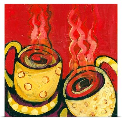 """'A Steaming Romance' by Jennifer Lommers Painting Print Size: 8"""" H x 8"""" W x 0.75"""" D, Format: Canvas JL0120104_29_8x8_none"""