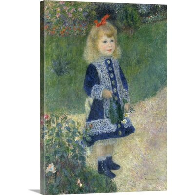 "'A Girl with a Watering Can, 1876' by Pierre-Auguste Renoir Painting Print on Wrapped Canvas Size: 48"" H x 35"" W x 1.5"" D"