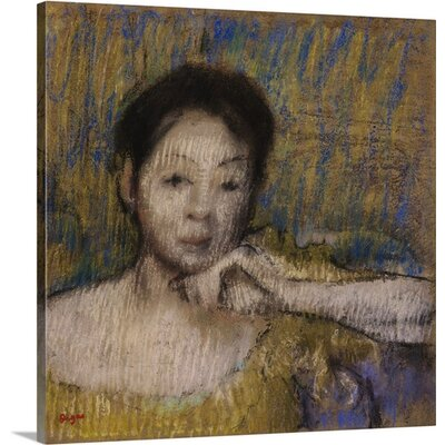 Bust Of A Woman With Chin Resting On Left Hand By Edgar Degas Painting Print On Wrapped Canvas image