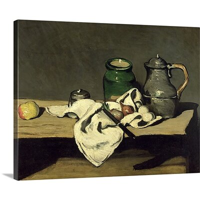 'Still Life with a Kettle, c.1869' by Paul Cezanne Painting Print on Wrapped Canvas BAL197271_29_10x8_none