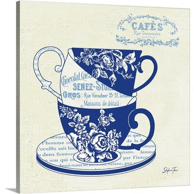 'Blue Cups III' by Stefania Ferri Vintage Advertisement on Wrap Canvas 1166428_29_8x8_none
