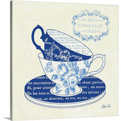 'Blue Cups II' by Stefania Ferri Vintage Advertisement on Wrap Canvas 1166427_1_16x16_none