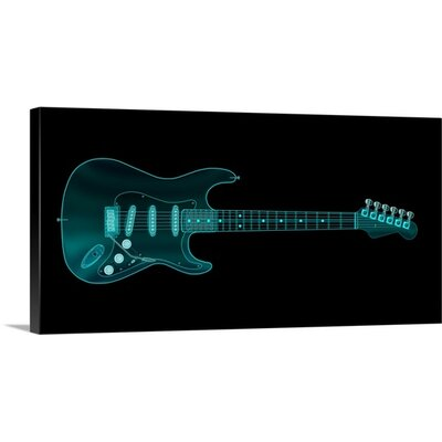'Guitar X-ray' by Michael Tompsett Painting Print on Wrapped Canvas 1057334_1_24x12_none