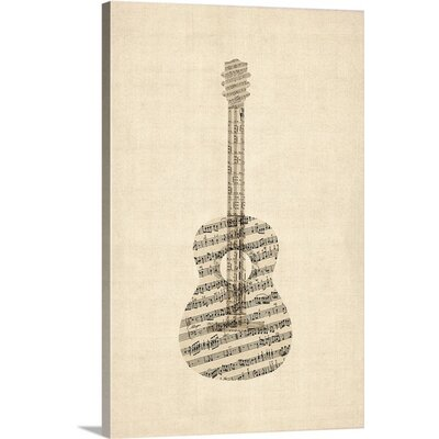 'Acoustic Guitar Old Sheet Music' by Michael Tompsett Graphic Art on Wrapped Canvas 2075457_1_16x24_none