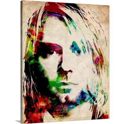 'Kurt Cobain Urban Watercolor' by Michael Tompsett Graphic Art on Wrapped Canvas 1018865_29_8x10_none