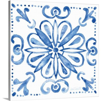 Tile Stencil IV Blue by Anne Tavoletti Graphic Art on Wrapped Canvas