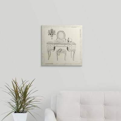 "'Emily's Boudoir III - Table' Graphic Art Print Size: 21"" H x 21"" W x 1"" D, Format: White Framed 1166467_21_16x16_none"