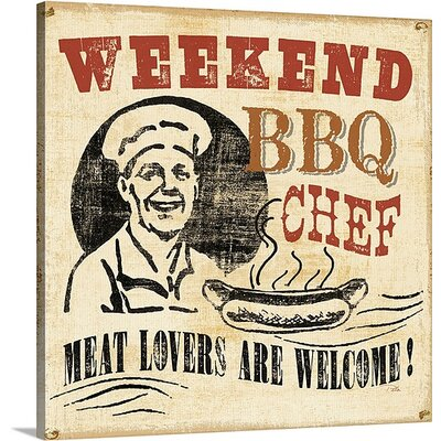 "'Weekend BBQ Chef' Vintage Advertisement Size: 35"" H x 35"" W x 1"" D, Format: White Framed 1050876_21_30x30_none"