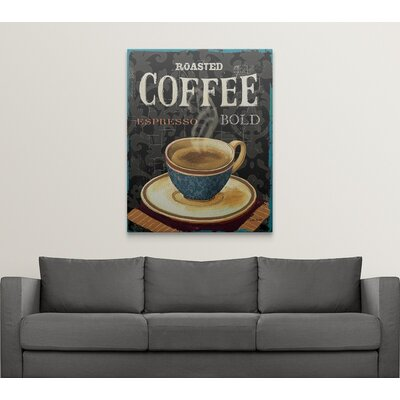 "'Today's Coffee IV' by Lisa Audit Vintage Advertisement Size: 48"" H x 38"" W x 1.5"" D, Format: Canvas 1051081_1_38x48_none"