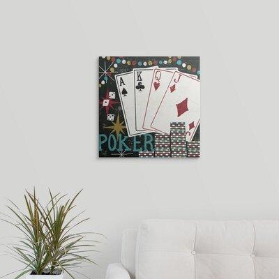 "'Vegas Cards' by Michael Mullan Graphic Art Print Size: 17"" H x 17"" W x 1"" D, Format: Black Framed 1057191_15_12x12_none"