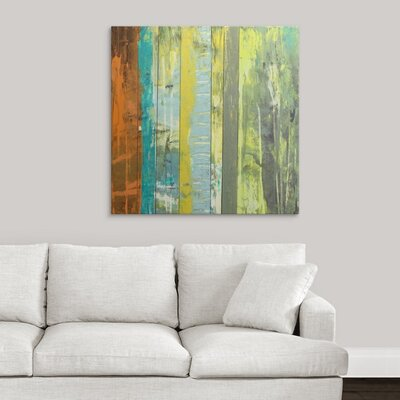 'Embellished Vibrant Stripes II' by Jennifer Goldberger Painting Print on Wrapped Canvas 2058400_1_35x35_none