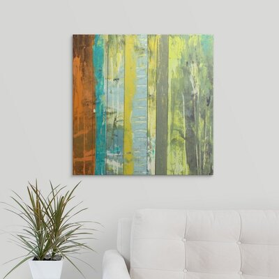 'Embellished Vibrant Stripes II' by Jennifer Goldberger Painting Print on Wrapped Canvas 2058400_1_24x24_none