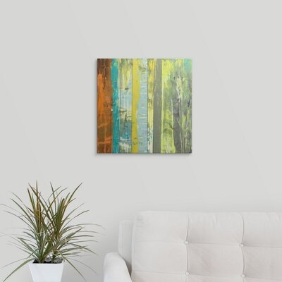 'Embellished Vibrant Stripes II' by Jennifer Goldberger Painting Print on Wrapped Canvas 2058400_1_16x16_none