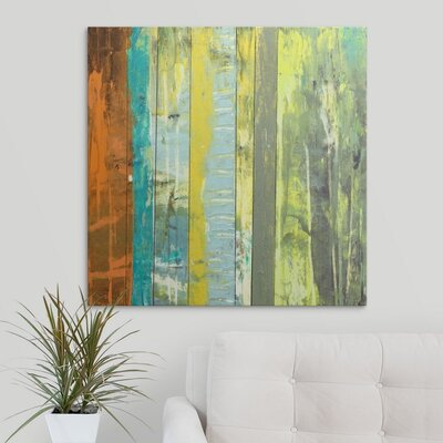 'Embellished Vibrant Stripes II' by Jennifer Goldberger Painting Print on Wrapped Canvas 2058400_1_30x30_none