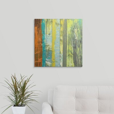 'Embellished Vibrant Stripes II' by Jennifer Goldberger Painting Print on Wrapped Canvas 2058400_1_20x20_none