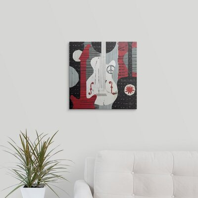 "'Rock 'n Roll Guitars' by Michael Mullan Painting Print Size: 35"" H x 35"" W x 1"" D, Format: White Framed 1051975_21_30x30_none"
