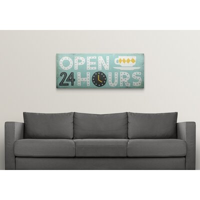 """'Retro Diner Open 24 Hours Panel' by Michael Mullan Textual Art Format: White Frame, Size: 24"""" H x 53"""" W x 1"""" D 2398469_21_48x19_none"""