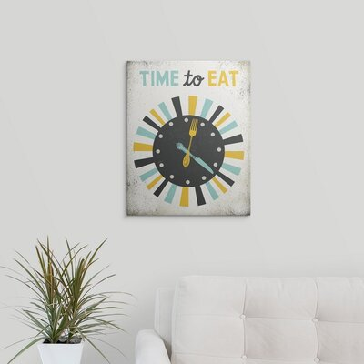 """'Retro Diner Time to Eat Clock' by Michael Mullan Graphic Art Print Format: Black Frame, Size: 20"""" H x 17"""" W x 1"""" D 2398476_15_12x15_none"""