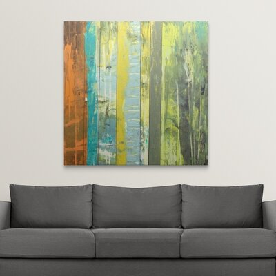 'Embellished Vibrant Stripes II' by Jennifer Goldberger Painting Print on Wrapped Canvas 2058400_1_48x48_none